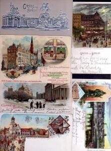 6 Ansichtskarte Alt Berlin Litho 1899 Königl. Münze Brandenburger Tor 1898 Rathaus