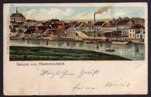 Ansichtskarte Hadersleben Haderslev Hafen 1900 Glitterauflag