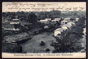 Ansichtskarte Jabassi Kamerun 1909 Eingeborenen Wohnungen in Duala kathol. Mission