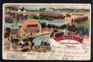 Ansichtskarte Haguenau Hagenau 1904 Gruss vom Truppenübungsplatz Hotel Hirsch Parade