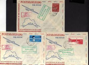B1160 5 Briefe DDR Postsegelflug 1957 Notlandung Sonneberg Zwickau -  Karl-Marx