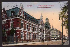 Ansichtskarte Colmar Rufacherstraße mit Post 1915