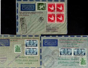 B1163 3 Briefe DDR Luftpost Lufthansa Eröffnungsflug Buenos Aires Los Angeles Am