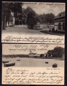 2 Ansichtskarte Berlin Tegel 1902 Tegeler See Schloss Park