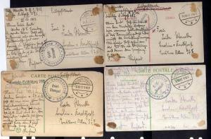4 Ansichtskarte Türkei Militärmission Feldpost 663 und 511 Tarnstempel Constantinope