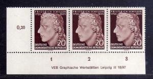 DDR 466 Schiller 1955 postfrisch DV Druckvermerk Variante Wolf