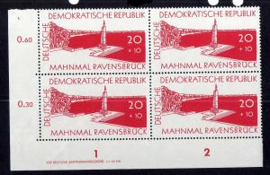 DDR 567 Ravensbrück 1957 postfrisch Druckvermerk DV Zähnungsvariante c/1