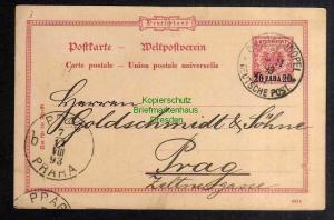Ganzsache Deutsche Post in der Türkei Constantinopel Galata 1893 n. Prag