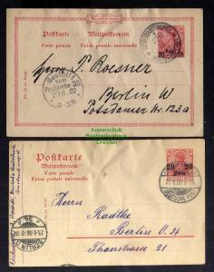 2x Ganzsache Deutsche Post in der Türkei Constantinopel 1902 1908 nach Be
