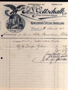 V537 Briefbogen Firmenrechnung Chemnitz 1913 Konserven Spezial Handlung Innere J