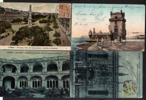 4 Ansichtskarte Lissabon Lisboa 1907 nach Berkley USA Torre de Belem Praca dos Restau