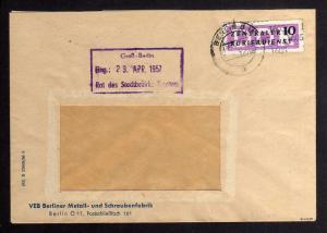 B1626 DDR Aufdruck Kontrollzahlen 1605 Berlin ZKD 10 Brief VEB Berliner Metall u
