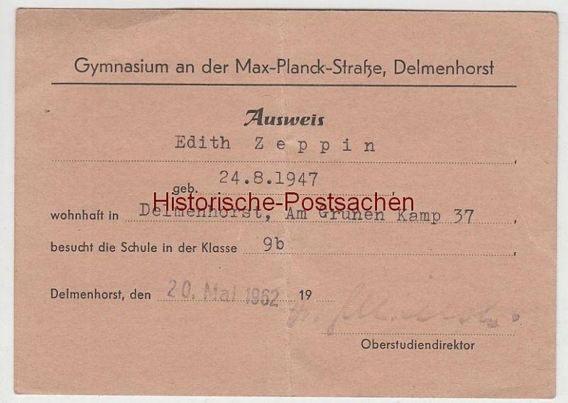 (D400) Ausweis d. Gymnasium Delmenhorst, für Edith Zeppin 1962