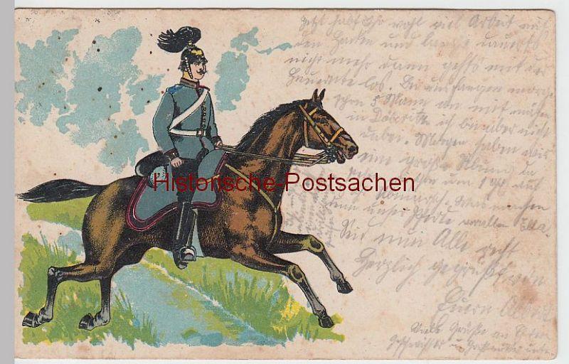 (47781) Künstler AK Soldat zu Pferd, Prägekarte 1914