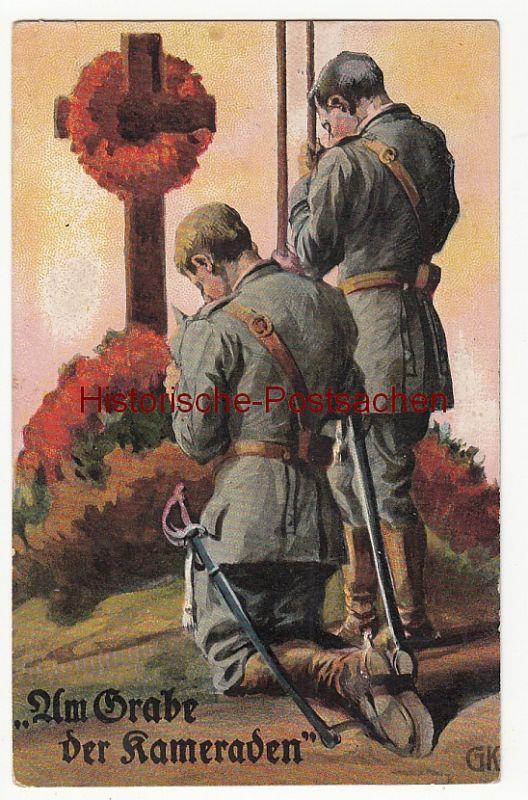 (84029) Künstler AK 1. WK, Am Grabe der Kameraden, Feldpost 1915