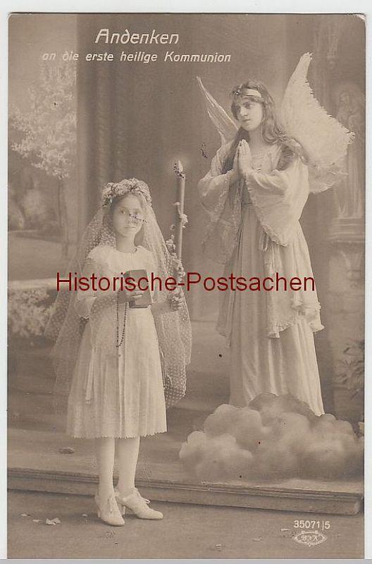 (41268) Foto AK Erste heilige Kommunion, Mädchen mit Engel, vor 1945