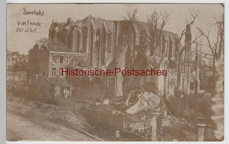(73968) Foto AK 1. WK, Zonnebeke, zerstörte Kirche 1914-18