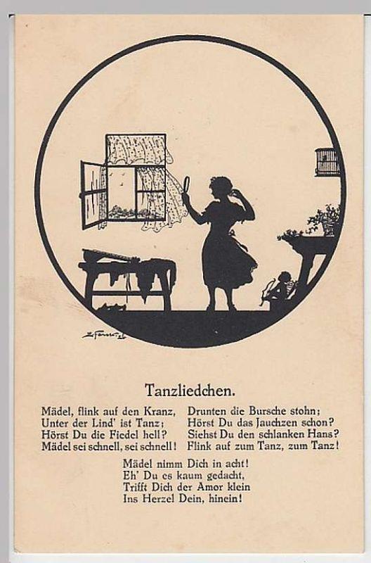 (27623) Künstler AK Elsbeth Forck, Tanzliedchen, Schattenbild, vor 1945