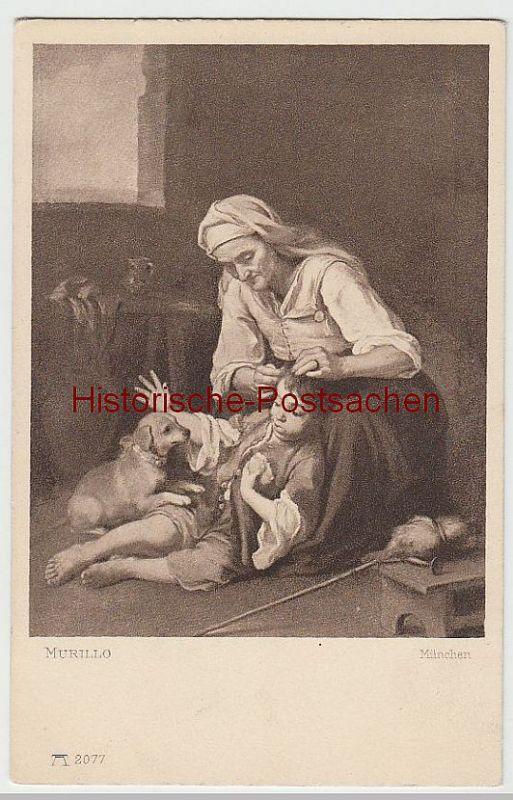 (39156) Künstler AK B.E. Murillo: Alte Frau, vor 1945