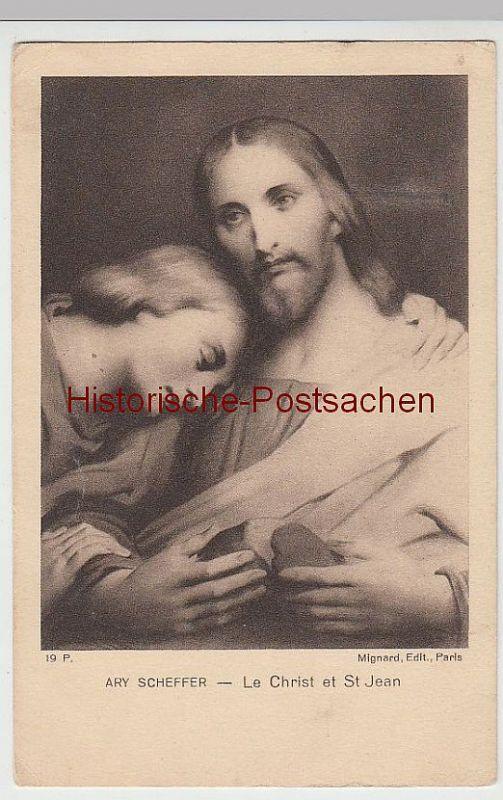 (39177) Künstler AK Ary Scheffer: Jesus u. St. Jean, 1924