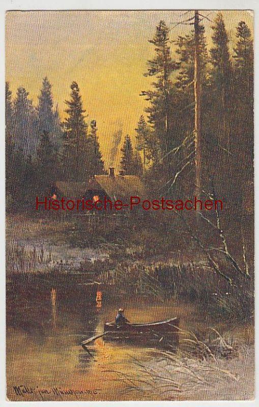 (41381) Künstler AK Müller jun: Waldhaus, Boot auf d. Teich, 1906
