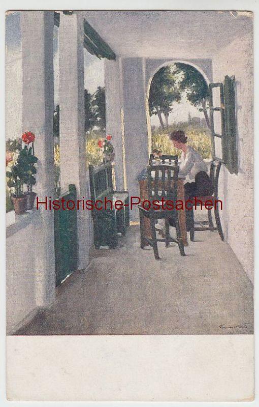 (49154) Künstler AK Keményffi: Nyaralóban (In der Sommerfrische), vor 1945