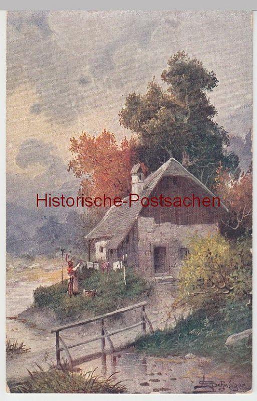 (49177) Künstler AK Schweiger: Häuschen am Fluß, Feldpost 1917