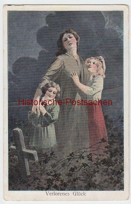 (47768) Künstler AK Verlorenes Glück, Mutter u. Kinder am Grab, vor 1945