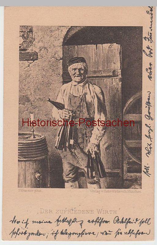 (51613) Künstler AK P. Kraemer: Der zufriedene Wirth, vor 1905, gel. 1912
