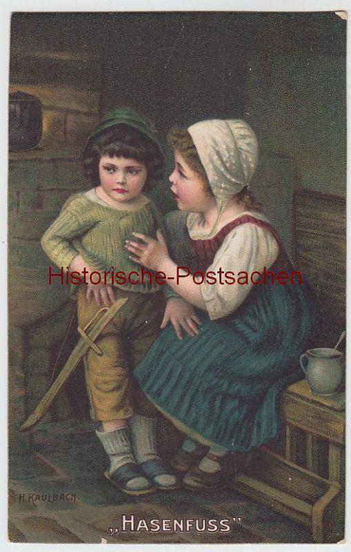(55514) Künstler AK H. Kaulbach, Hasenfuß 1912