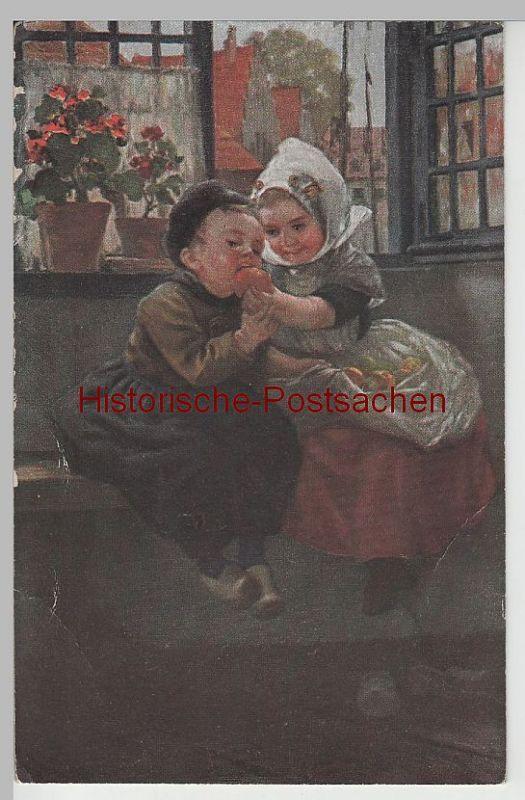 Künstler In Essen 69149 künstler ak kinder in niederländ tracht beim apfel essen