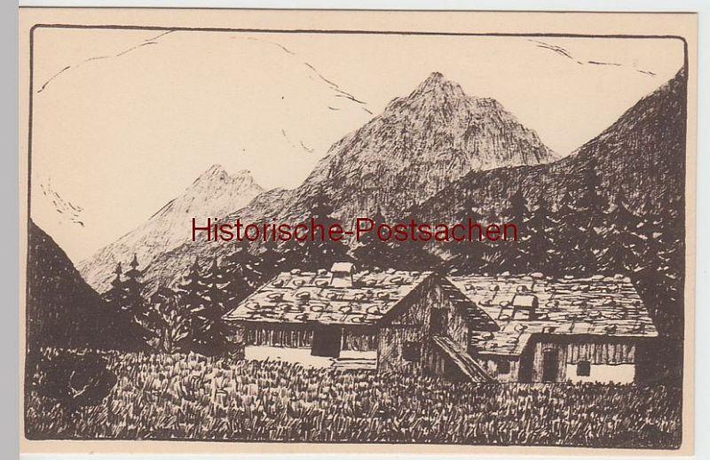 (49712) Künstler AK Karoline Buttmann: Leutasch, Bauernhäuser