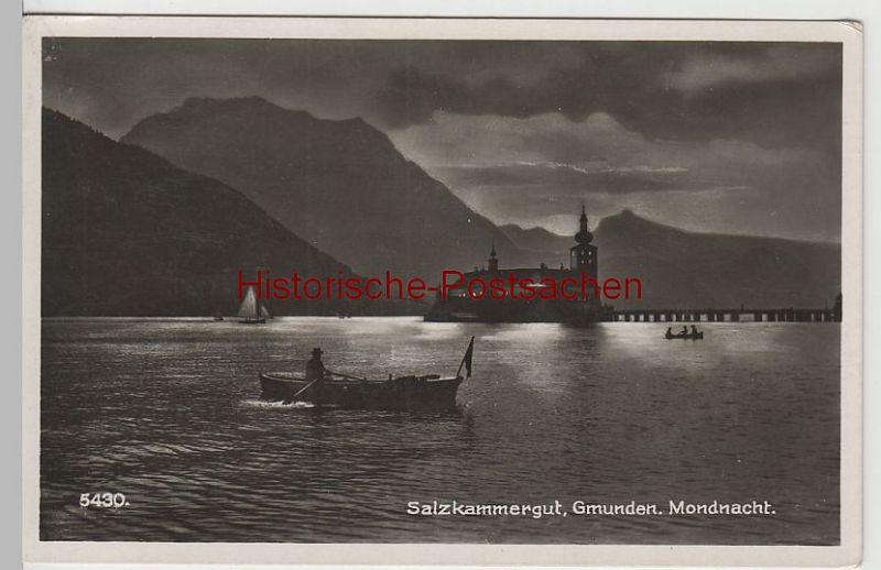 (79610) Foto AK Gmunden in einer Mondnacht, vor 1945