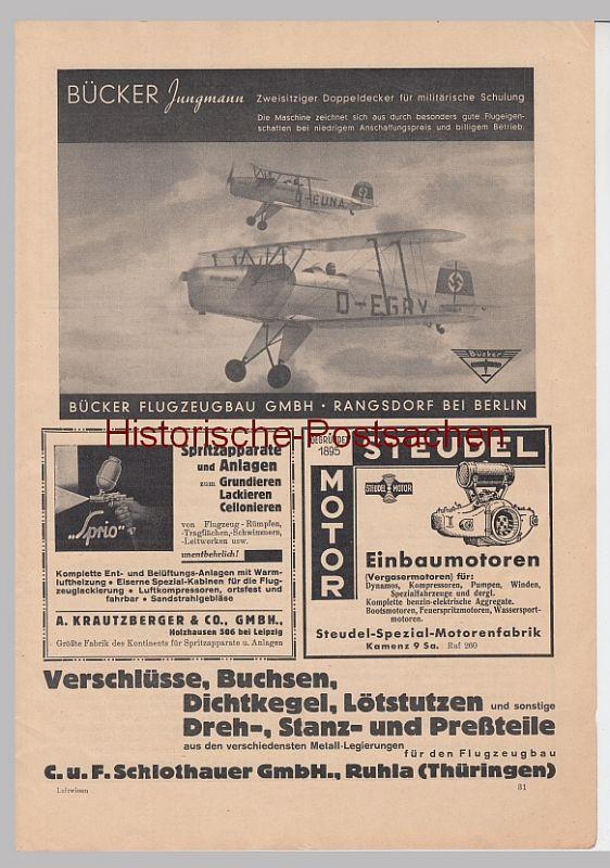 (D511+-) original Werbeanzeige A4 Bücker Flugzeugbau, Jungmann 1936