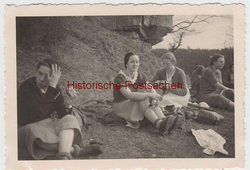 (F3976) Orig. Foto Ausfahrt Kaiserslautern, Rast i.d. Umgebung 1936