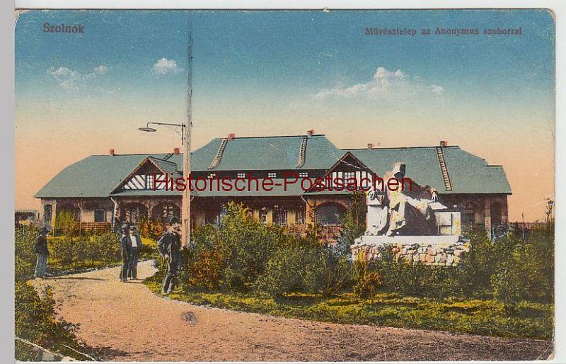 (45599) AK Szolnok, Sollnock, Denkmal e. anonymen Künstlers, Feldpost 1913