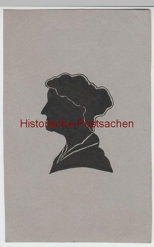 (D387) Silhouette, Schattenbild, Original Zeichnung auf Karton, Postkartengröße