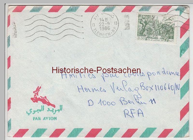 (B2400+) Bedarfsbrief Algerien, 1986