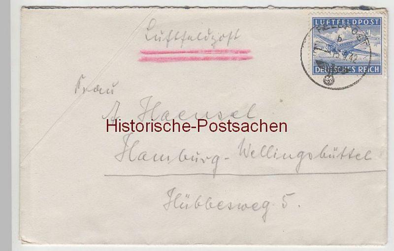 (B2318+) Feldpostbrief DR, mit Luftfeldpostmarke Mi 1, 1942