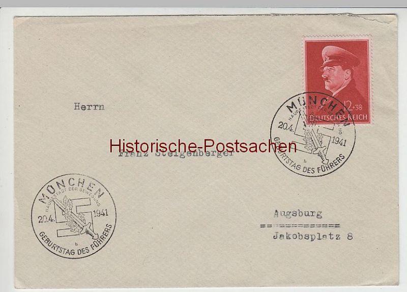 """(B2319+-) Bedarfsbrief DR, Sonderstempel München """"Geburtstag d. Führers"""""""