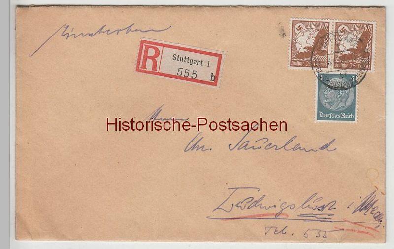 (B2320+-) Bedarfsbrief R-Brief DR, Stempel Stuttgart 1938