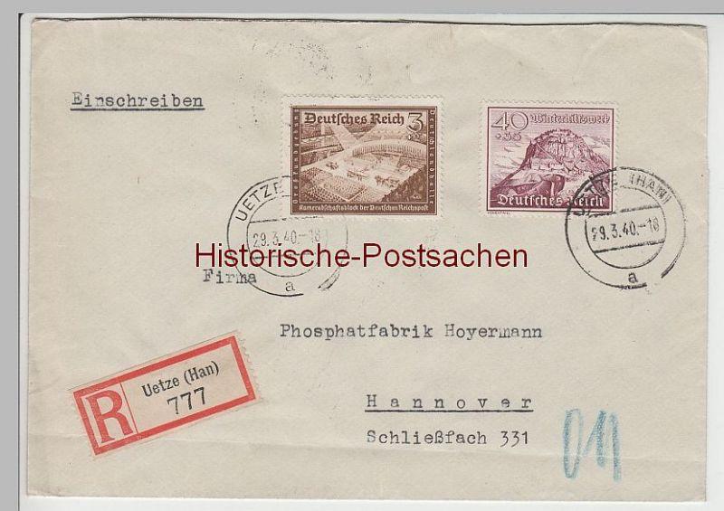 (B2321+) Bedarfsbrief R-Brief DR, Stempel Uetze (Han), 1940