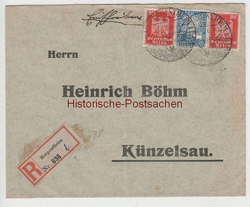 (B2322+) Bedarfsbrief R-Brief DR, Stempel Bad Mergentheim 1, 1926