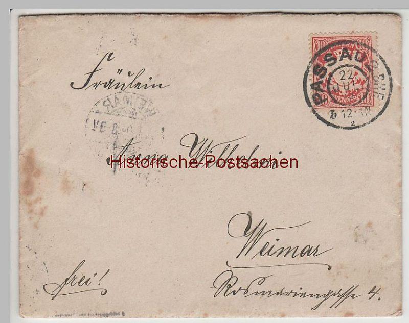 (B2323+) Bedarfsbrief Bayern, Stempel Passau 2 Bhf., 1904