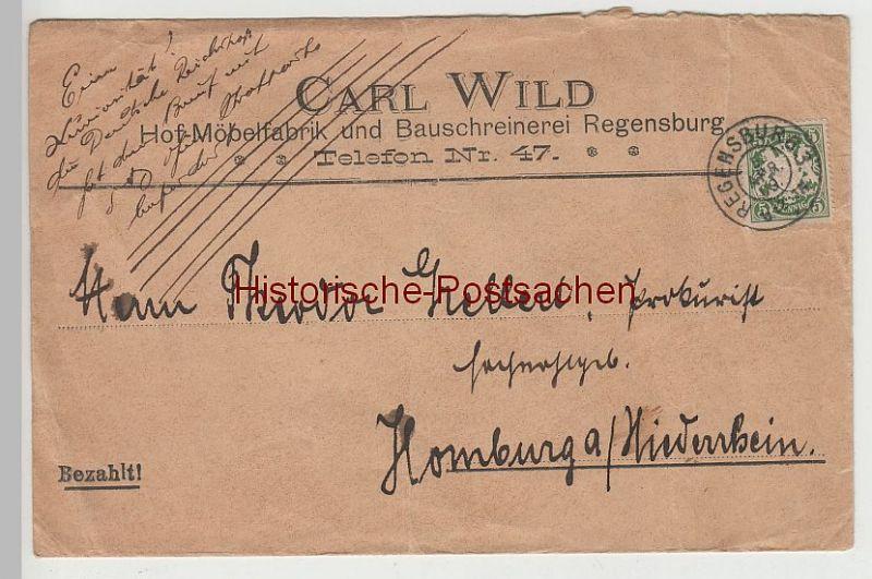 (B2324+) Bedarfsbrief Bayern, Stempel Regensburg 3, 1909