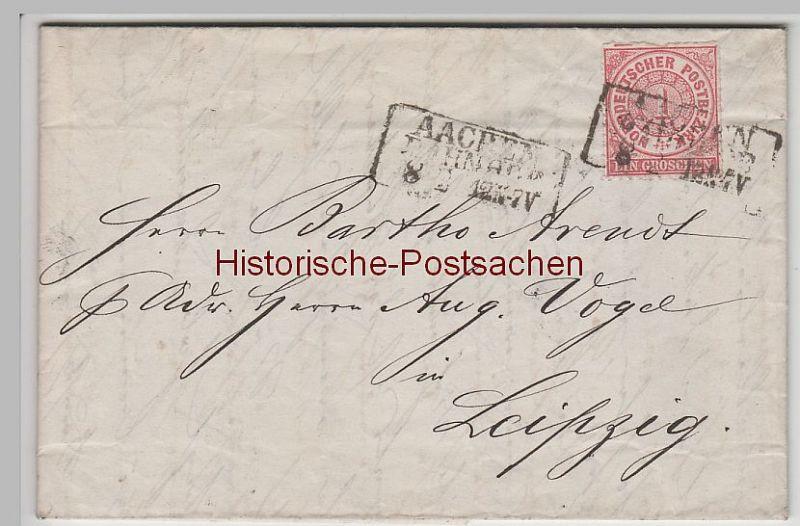 (B2328+) Bedarfsbrief Norddeutscher Bund, Stempel Aachen 1879