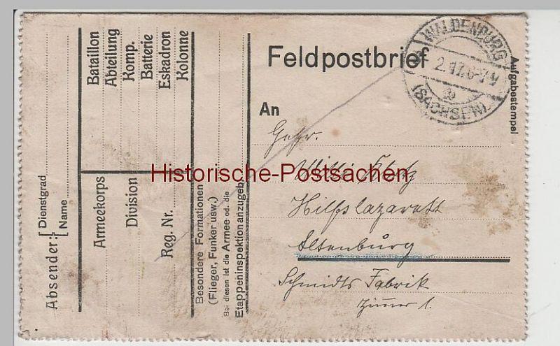 (B2329) Feldpostbrief v. Waldenburg (Sa.) nach Altenburg 1917