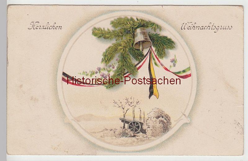 (84417) Künstler AK Herzlichen Weihnachtsgruß, Kanone, Glocke 1918