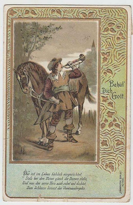 (27787) Künstler AK Trompeter von Säckingen, Behüt dich Gott 1908