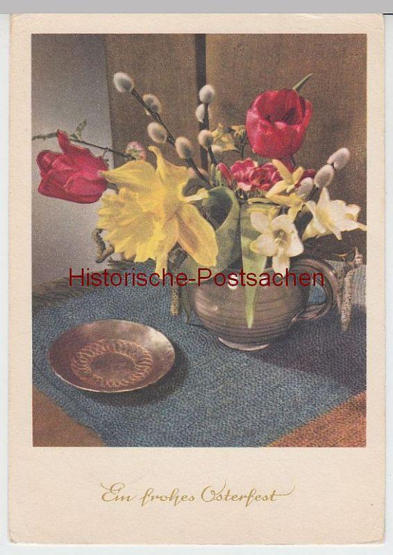 (60640) AK Ein frohes Osterfest, Blumen und Weidenkätzchen im Krug, 1963